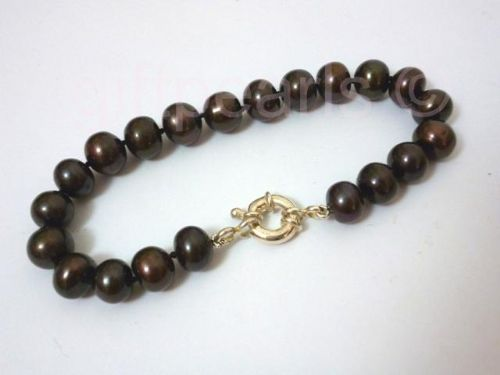Black pearl bracelet with Sterling silver clasp.